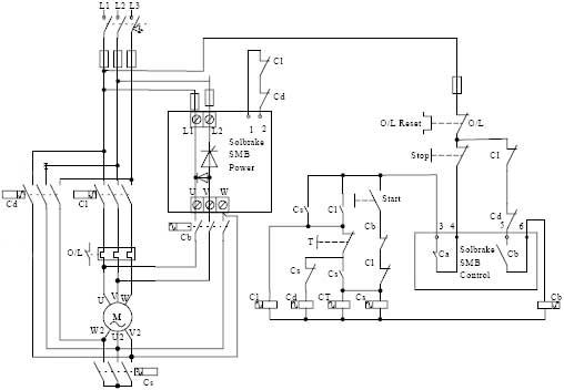 """Cs - пусковой контактор Cd - контактор  """"треугольник """" Cl - линейный контактор T - реле времени."""